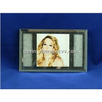 Glass photo frame with crystal beads inside
