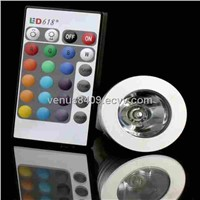IR Remote Control E27 MR16 GU10 3W RGB Led Spotlight
