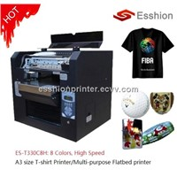 high quality 8 colors A3 size T-shirt flatbed printer /Direct to Garment (DTG) printer