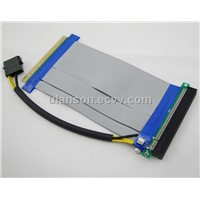 PCI Express PCI-e 16X TO 16X Riser Card Extender Ribbon Cable W/ Molex Connector and Capacitor