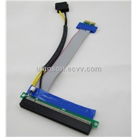 PCI Express PCI-e 1X TO 16X Riser Card Extender Ribbon Cable w/ Molex Connector and Capcitor