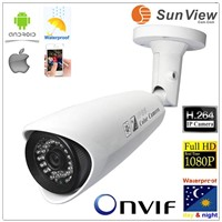 SunView SV-B206F Waterproof 1080P IR Bullet HD Network IP Camera 5 Megapixel, surveillance camera