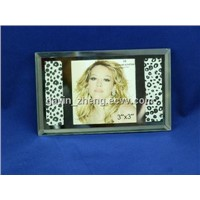 snow leopard pattern glass photo frames 3x3inch