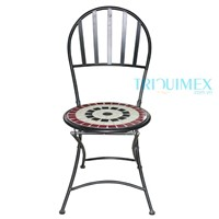 Wrought iron and ceramic mosaic chair