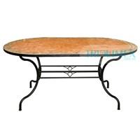 Wrought iron and ceramic mosaic oval dining table
