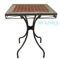 Wrought iron and ceramic mosaic square table