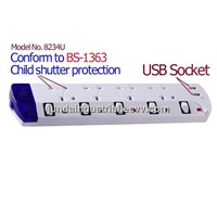 BS type extension socket with USB