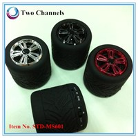 2014 new special design tire shape Stereo bluetooth speaker for mobile phone