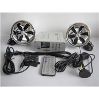 600 watt 2 ch motorcycle audio system w/ 2 remotes, FM, SD, USB , Bluetooth