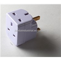 BS type travel adaptor 3 way
