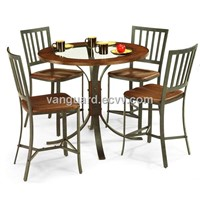 Hammered Heavy Duty Metal/Glass Top Bar Table and Stools