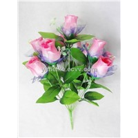 Beautiful Wedding Flowers 12 Heads Rose Bud Gauze Covered