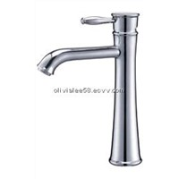 Chromed single lever/handle brass basin faucet