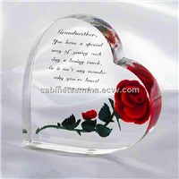 Crystal Acrylic Heart Shape Rose Gift Engraved Christmas Gifts Decorations-Customized inscription