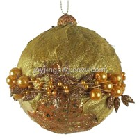 Gold Christmas ball with beaded chain