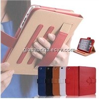 Hand hold elastic strap leather PU cover for iPad Mini stand case