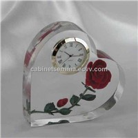 Holiday Gifts Crystal Red Rose Clock Wedding Anniversary Gifts