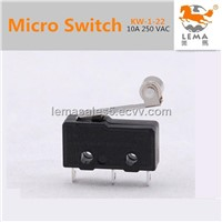 Short Metal Hinge Roller Lever Type Micro Switch