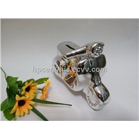 Silver Coating Ceramic Motor bike Coin Bank