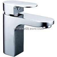 Single lever polished basin faucet