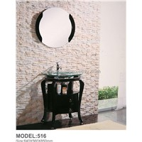 hot sell modern classic oak cabinet, glass bathroom basins (516)