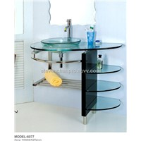 Tempered glass basin with solid wood & Stainless steel frame+mirror (6077)