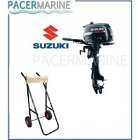 SUZUKI DF 6 HP FOUR STROKE OUTBOARD ENGINE AND TROLLEY BOAT MOTOR