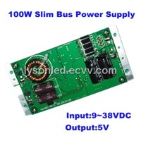 100W Slim Bus LED Display Power Supply, 5V20A Output,DC9~38V Input