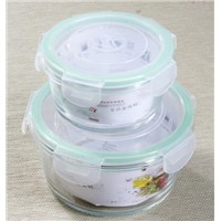 350ML/800ML Round glass lunchbox,glass food container,glass canister