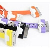 low price colorful flat cable noodle cable for iphone4/4s ipod