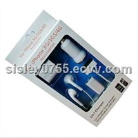 5in1 combo travel kit for iphone4/4s headphone/car charger/cable/wall charger/earphone splitter
