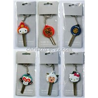 3d colored rubber character house keys