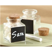 """Chalkboard"" Glass and Cork Favor Jars"