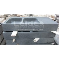 Grey granite double bowl kitchen sink LD-K045