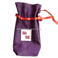 Linen Wine Bag(Km-Wnb0067), Bottle Bag, Jute Bag, Gift Bag, Promotion Packing Bag