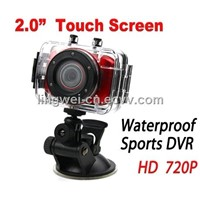 "Mini Helmet Camera with 2.0"" Touch Screen HD 720P Waterproof Sport Outdoor Car/Bike DVR (LW-SDV90)"