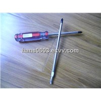 phillips acetate screwdriver with red strips handle
