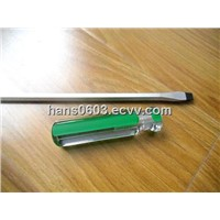 slotted screwdrivers with acetate green strips handles