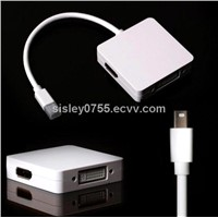 For Macbook 3 IN 1 mini dp to Thunderbolt/DVI/HDMI Supported  Pro/Macbook Air  Adapter