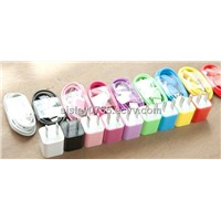 for iphone3/3gs/4/4s mini colorful usb wall charger+colorful data cable