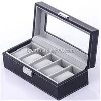 Black Leather 5 Watch Lockable Storage Box Display