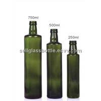 Dark Green Round Olive Oil Glass Bottle