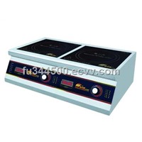 Double burner flat desktop cooker