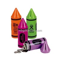 Plastic Crayon Shape Coin Bank