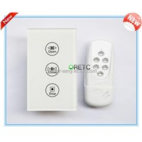 US Style RF Remote Control Electromotion Touch wireless Curtain Switch , Touch Panel Wall Switch