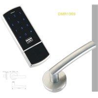 electronic keypad lock with code and card key