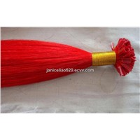 red color U tip hair extension