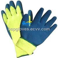 10 Guage Acrylic Brushed Knitted Shell With Latex Rough Coated Winter Style Work Gloves BGLC201