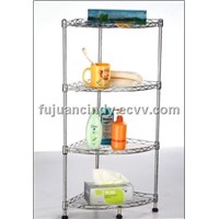 Bathroom 4 Tiers Chrome Carbon Steel Wire Shelving Corner Rack