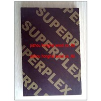 Brown film faced plywood with Superplex logo